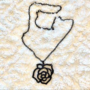 Black Rhinestone Rose Long Necklace